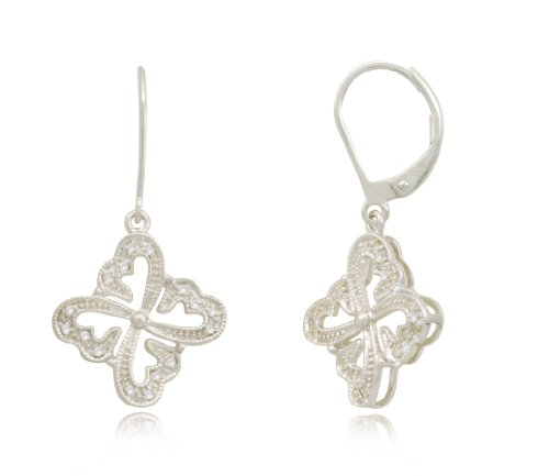 Sterling Silver Multi Hearts Diamond Earrings (1/10 cttw, I-J Color, I2-I3 Clarity)