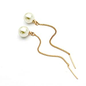 Pearl drop earrings made with Swarovski 18ct Gold finish perfect gift