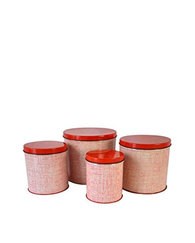 Patina Vie Vintage Set of 4 Tin Canisters, Red/White