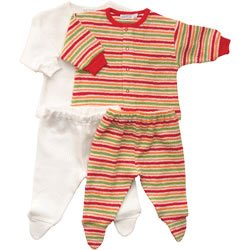 Flannel Layette Set, 1-3m, Natural