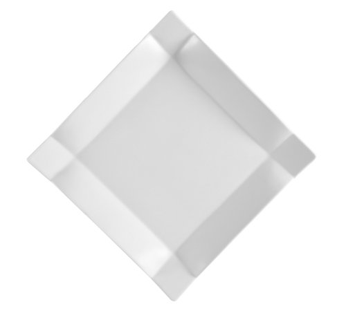 CAC China TMS-21 Times Square Super White Porcelain Square Plate, 12-Inch, Box of 12