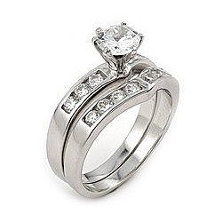 Sterling Silver 7mm CZ Wedding Set with 6mm CZ Stone - Size 7