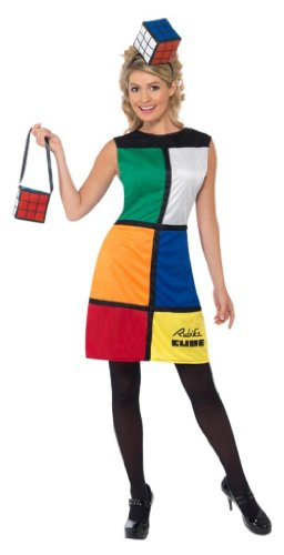 Rubik's Cube Costume with Headband Female UK Dress, S, M, L