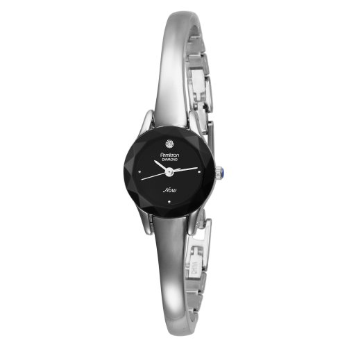 Armitron Women's 752433BLK NOW Diamond Accented Silver-Tone Bangle Dress Watch