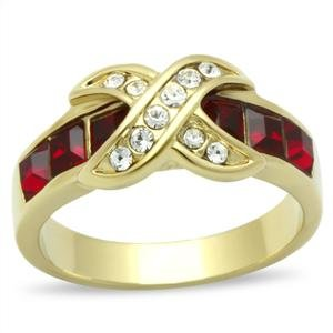 RIGHT HAND RING - Gold Tone Crisscross X-Shape with Round Cut Top Grade Crystals and Princess Cut Red Stones