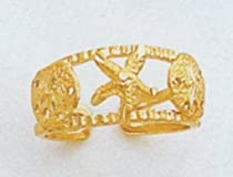 14kt Seashell and Starfish Toe Ring - C2082