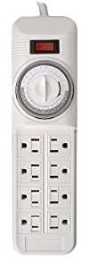 Woods 22575 24-Hour Power Strip Timer, 8-Outlets, 4-Ft