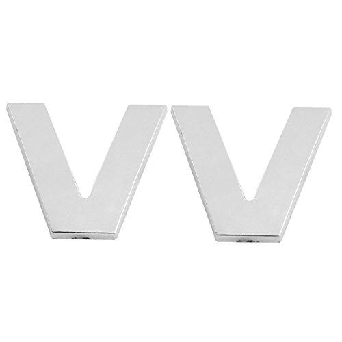 2 Pcs auto emblème Lettre Adhésifs en plastique V voiture 3D Badge Ornement ton argent