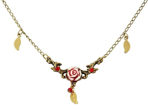 Michal Negrin Necklace with Vintage Rose, Dangling Leaves and Red Crystals