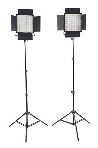 Studiopro Double 600 S-600D Led Photography Lighting Panel With Barndoors And Light Stand Kit, Continuous Daylight, Photo Studio Video Film Lighting Kit