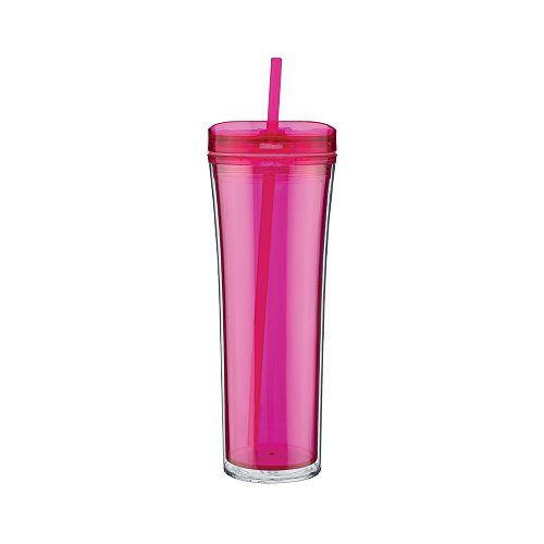 Double Wall Sleek and Tall Acrylic Tumbler - Double Wall, 20oz. Capacity - Fuchsia (Aladdin Cups With Straws compare prices)