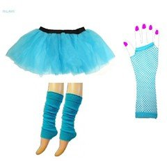 neon tutu kit blue ladies hen nights size 8 to 14 fishnet gloves tutus legwarmers, neon 80s fun themed hen night, stag night, disco, rave, clubbing