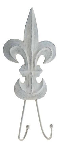 Shaped French Gray Fleur De Lis Distressed Tin Double Hooks Set Of 2 Mud Pie