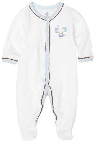 ABSORBA Baby-Boys Newborn So Cute Layette Basic Footie, White, 6/9
