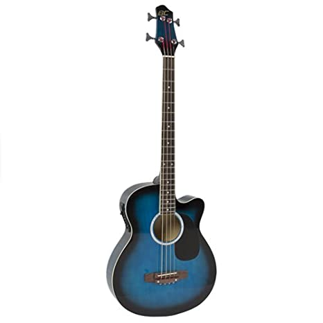 Electric Acoustic Bass Guitar Blue Solid Wood Construction With
