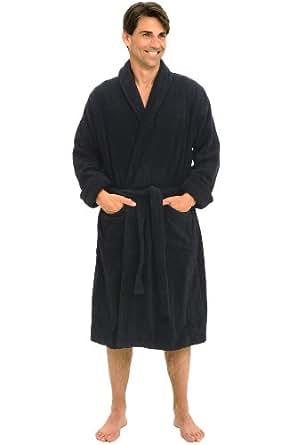 Del Rossa Men's Thick Terry Cloth Cotton Bathrobe, Small Medium Black (A0106BLKMD)