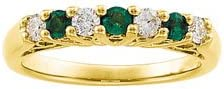 Ann Harrington Jewelry 14k Yellow Gold Genuine Emerald And 13 Ct Tw Diamond Anniversary Band