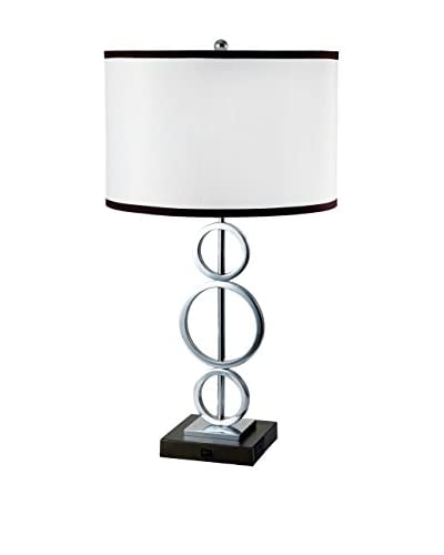 ORE International 3 Ring Metal 1-Light Table Lamp, White As You See