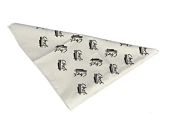 "San Jamar CB007 Cotton Chef Logo Bandana, 33"" Length, White"