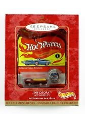Hot Wheels/Hallmark - Keepsake Ornament - 1968 Deora (Metallic Green) Decorative Micro-Sized Vehicle replica w/accessory collector's button - 1