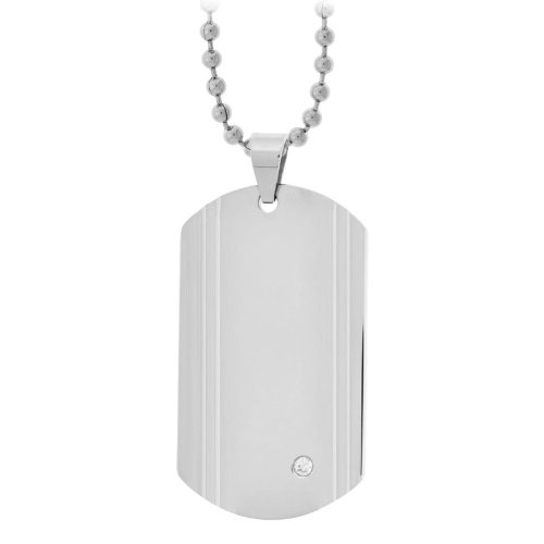 Men's Dog Tag Pendant with a Single CZ Stone Engraveable (Pendant Only)
