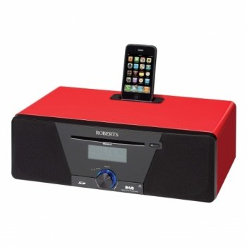 ROBERTS SOUND 53 CD/DAB/FM/MP3 ALARM SYSTEM WITH IPOD DOCK (RED)