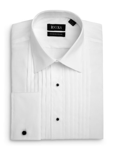 Rocola Mens Classic Collar Pleated Dress Shirt 15.5