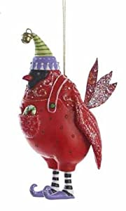"5"" Christmas Whimsy Funky Red Cardinal Bird Ornament"