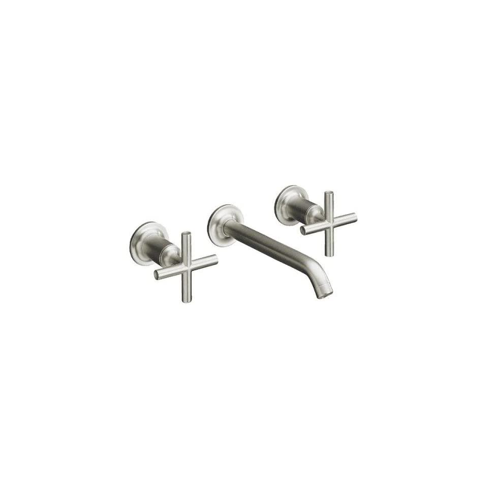 Kohler Purist Brushed Nickel Wall Mount Bathroom Sink Faucet, 6 1/4 Spout+Cylinder Cross Handles