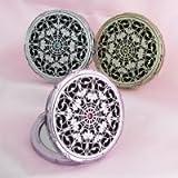 姫系 デコラティブ スワロフスキー キラキラ コンパクトミラー[鏡]メイク用鏡 拡大鏡2倍◆ゴールド