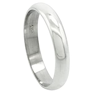 Sterling Silver 4 mm High Dome Wedding Band Thumb Ring, size 8