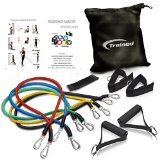 Trained Sports Best Resistance Band Set with Door Anchor, Free Ebook Workout Routines, Ankle Strap, Exercise Chart,Great For Crossfit, Men and Women, Training Bands Great For Workouts, Comes With Resistance Bands Carrying Bag.
