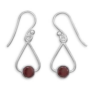 French Wire Earrings with Tri Shape and Round Garnet Drop