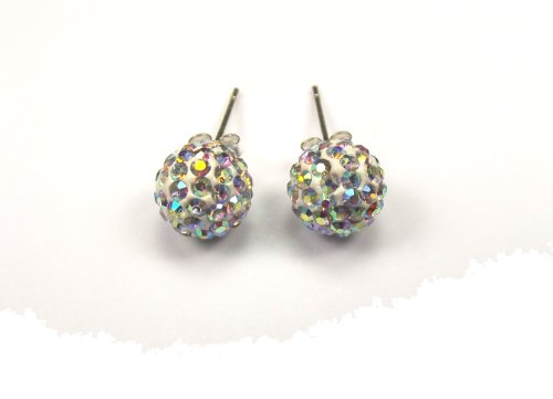 Shamballa White 925 Silver Stud Earrings, 8mm Disco Balls Encrusted with White Ice Czech Crystals. These Celebrity Style Fashion Jewellery Earrings are for Pierced Ears