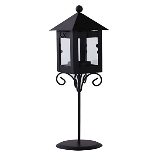 4EVER Mini Street Lamp Shape Metal Glass Candle Lamp Lantern, with a Tealight, Black