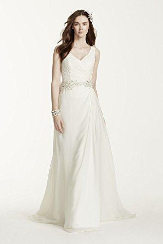 Chiffon A-Line Wedding Dress with Beaded Waist Style V3677, Ivory, 0