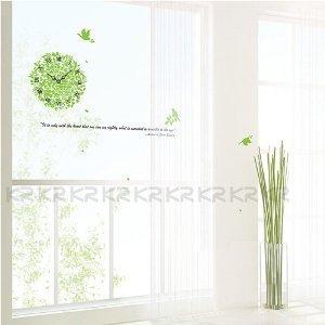 Green Ivy Wall Clock - Loft 520 Home Decor Vinyl Mural Art Wall Paper Stickers