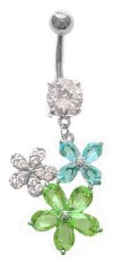 Crystal Clear Cz Aqua Lt Blue Lt Green Pretty Flower Long Dangle Belly Button Navel Ring 14 Gauge