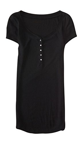 Aeropostale-Womens-Solid-Ribbed-Henley-Shirt