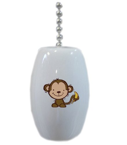 Monkey With Banana Ceramic Fan Pull front-959676