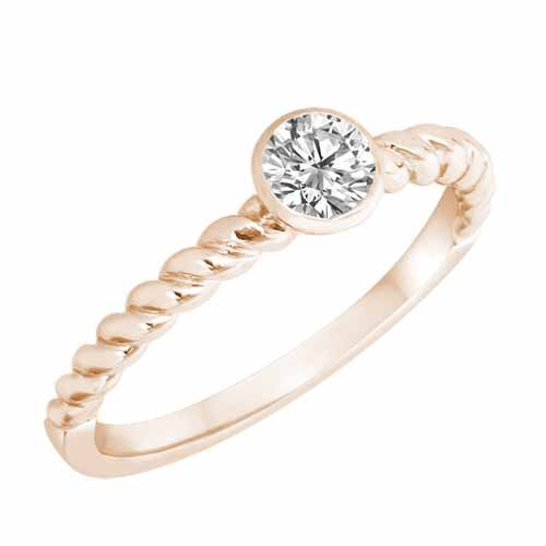 Ryan Jonathan Diamond Braided Stackable Solitaire Cocktail Ring in 14K White Gold
