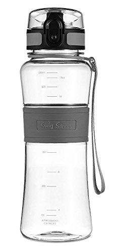 Swig Savvy Bottles 18 oz Triton Water Bottle Eco Friendly & BPA-Free Leak Free One-Click Flip Top open Ideal For Sports Yoga Camping Biking & Jogging (Gray) (Bottle Carrier For Cycle compare prices)
