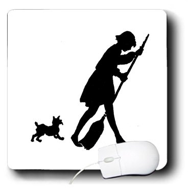 Florene Black And White - Cute Silhouette Of doggie Chasing Lady With Broom - MousePad (mp_109467_1)