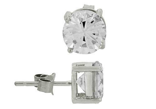 .925 Sterling Silver Rhodium Plated 5mm Round Solitaire Basket April Birthstone Stud Stud Earrings For Men Women Baby (1 ct)