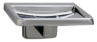 """Bobrick 680 304 Stainless Steel Surface Mounted Soap Dish, Bright Finish, 4-1/4"""" Width x 2"""" Height x 3-38"""" Projection"""