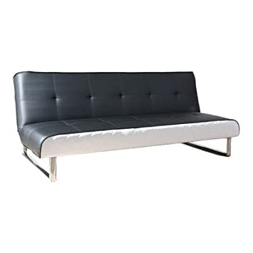 Seattle Leather Convertible Sofa Color: Black and White