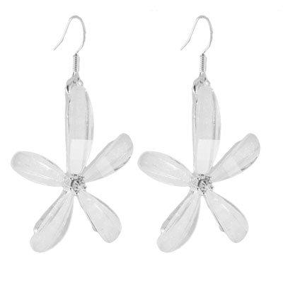 Women White Plastic Crystal Flower Pendant Fish Hook Earrings