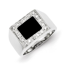 Genuine IceCarats Designer Jewelry Gift Sterling Silver Men's Cz & Onyx Ring Size 9.00