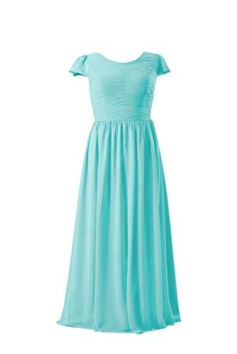 Daisyformals Long Chiffon Bridesmaid Dress W/Cap Sleeves(Bm4Ap760)- Tiffany Blue