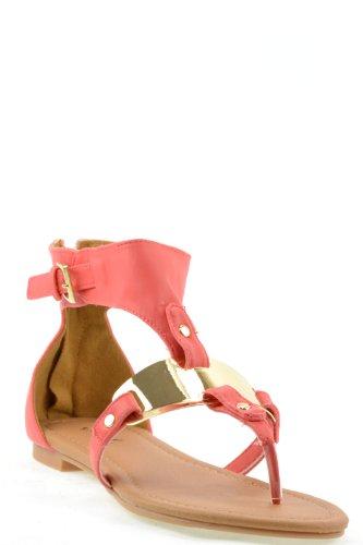Blink-142 Coral, R ?, women's cute fashion, metal plate T-strap thong flat gladiator sandal w/back counter & zipper, size 9